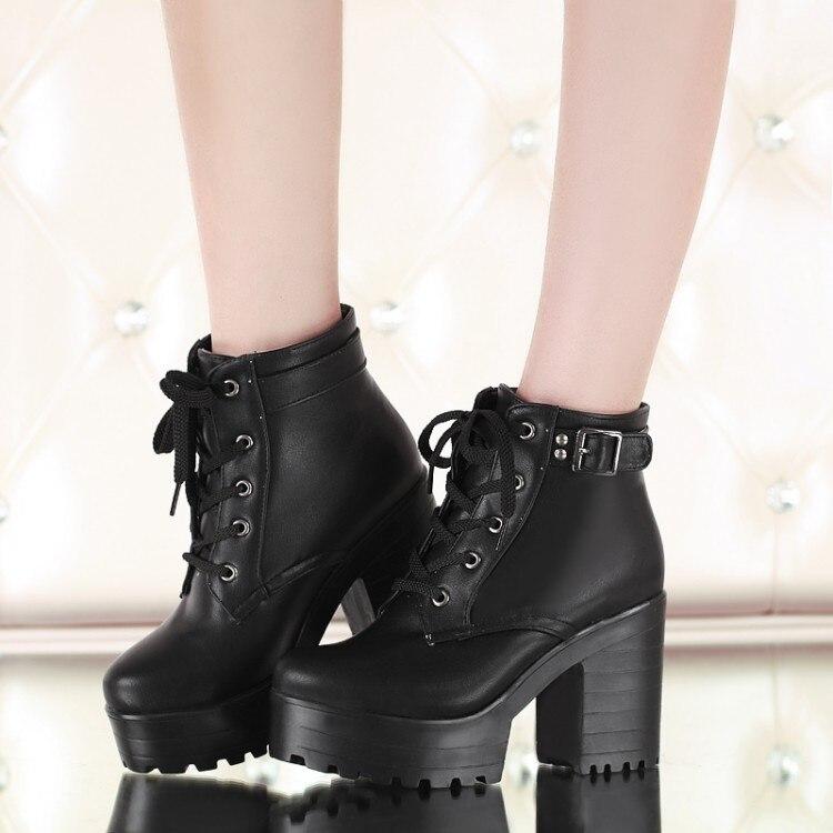 Resultado de imagem para womens lady shoes lace up block high heels platform goth creeper punk