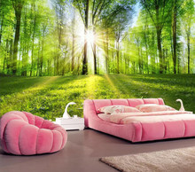 Decorative wallpaper Quiet forest scenery background wall(China)