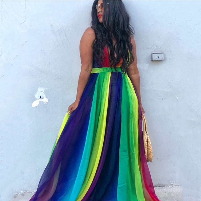 2019 Gradient Rainbow Summer Beach Dress Women Chiffon Spaghetti Strap Maxi Dress V Neck Backless Sexy Party Dress Vestidos in Dresses from Women 39 s Clothing