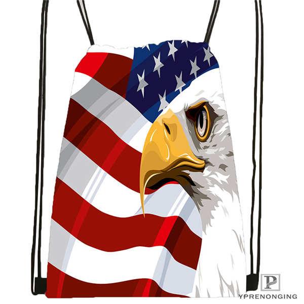 Customeagle with american flag 1Drawstring BackpackBagforManWoman Cute Daypack Kids Satchel Black Back 31x40cm 20180611 03 137