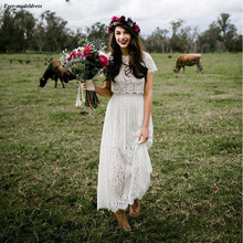 Chic Western Country Lace Two Pieces Wedding Dresses 2019 Sheath Short Sleeves Ankle Length Bridal Gowns Bohemian gelinlikler