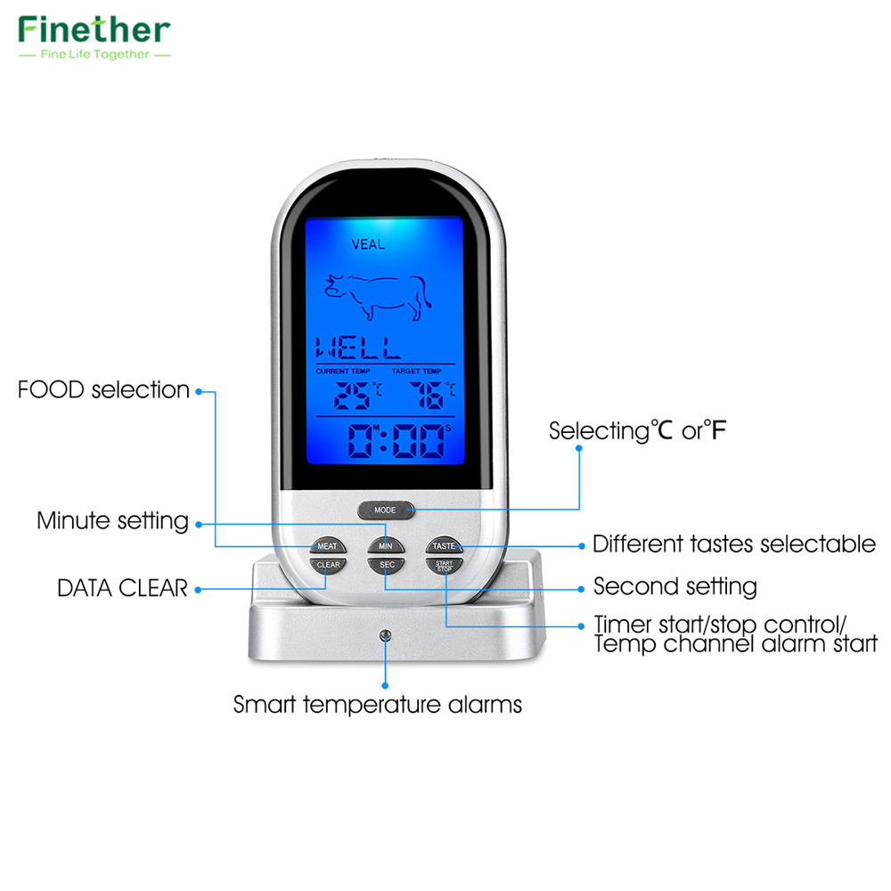 Wireless Food Cooking Thermometer LCD Barbecue Timer Digital Probe Meat Thermometer BBQ Temperature Gauge Kitchen Cooking Tools7