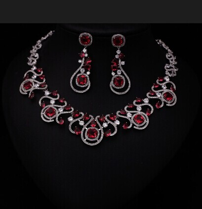 Luxury Red Cubic Zirconia Jewelry Sets Hollow Out Tear Shape Micro Inlay Small Stone Cubic Zirconia Crystal