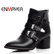ENMAYER Fashion Square Heel High Heel Ankle Boots Riding Shoes Buckle Wram Pointed Toe Shoes for Woman Black Gray Women Boots punk woman pointed toe low heel ankle boots black metal belt buckle hollow ankle boots real photos hollow knight woman boots