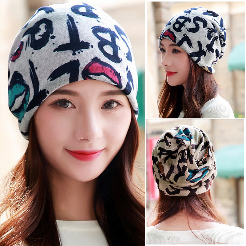 LongKeeper Hot Sell 2 Colors Vintage Lip Letter Women Warm Beanie Top Fashion Lay Casual Winter Hat Hip-Hop Cap Gorro Girl Touca