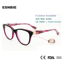 New 2015 Brand Design in London armacao de oculos Women Diamond Glasses Luxury Prescription