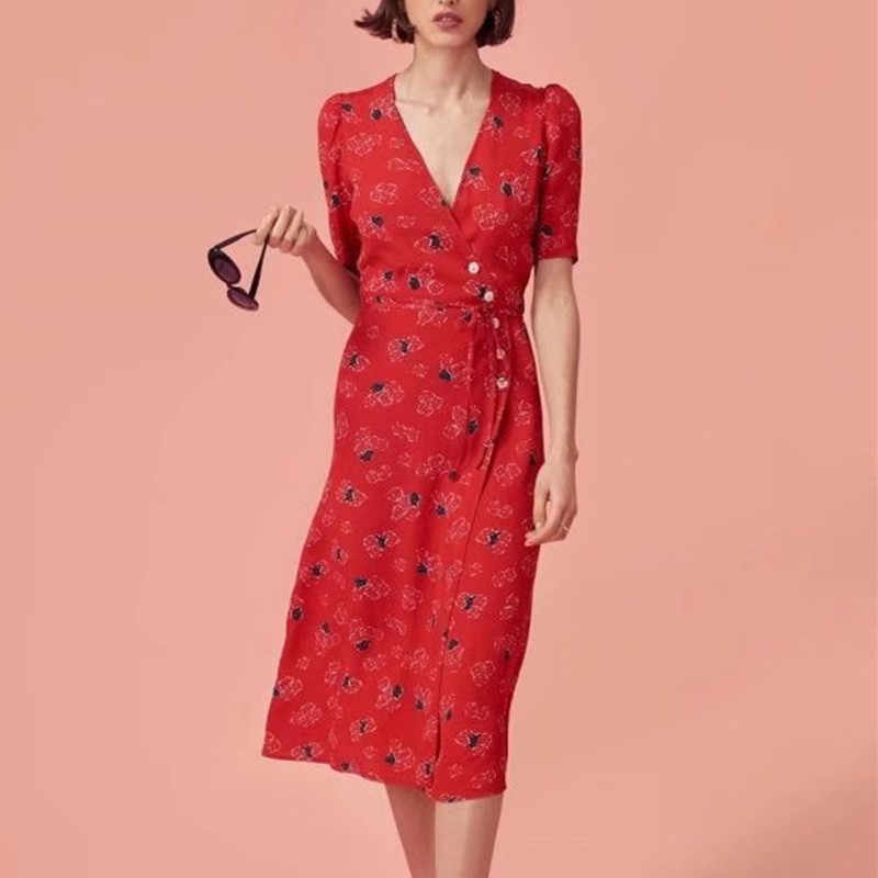 9d4c92f11a2a5 Women Floral Printed Summer Warp Dress V-neck Sexy Vintage Women Tea Dress  Lace-up Bodycon Female Beach Dress Rouje cwd0044-5
