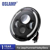 Oslamp 7 Round LED Headlight Hi Low Beam DRL Halo Angle Eye for Jeep Wrangler JK LJ TJ Truck 4x4 Off road Vehicle Motorcycle