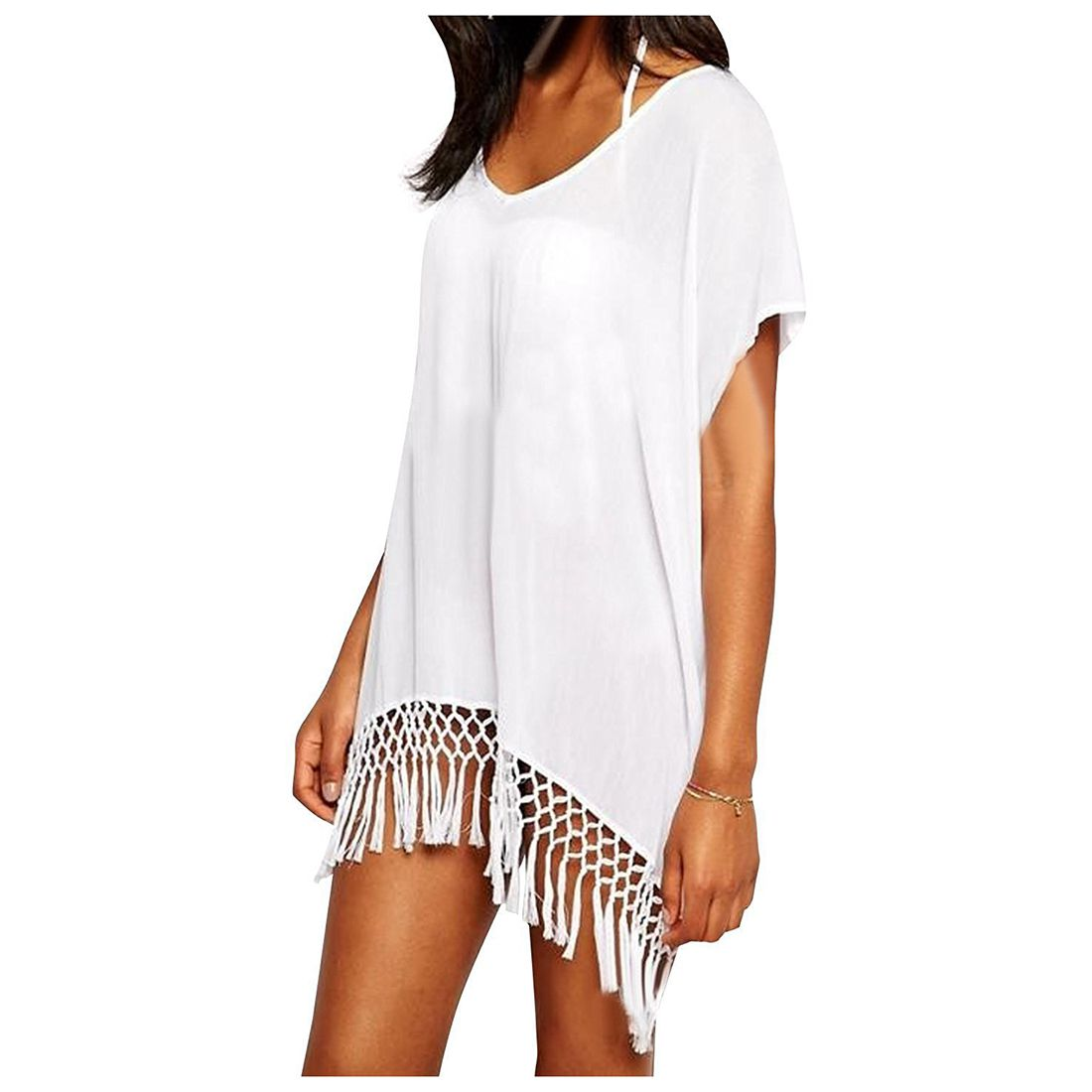 Womens Tassel Oversized Beach Cover Up Swimsuit Bathing Suit Beach Dress White