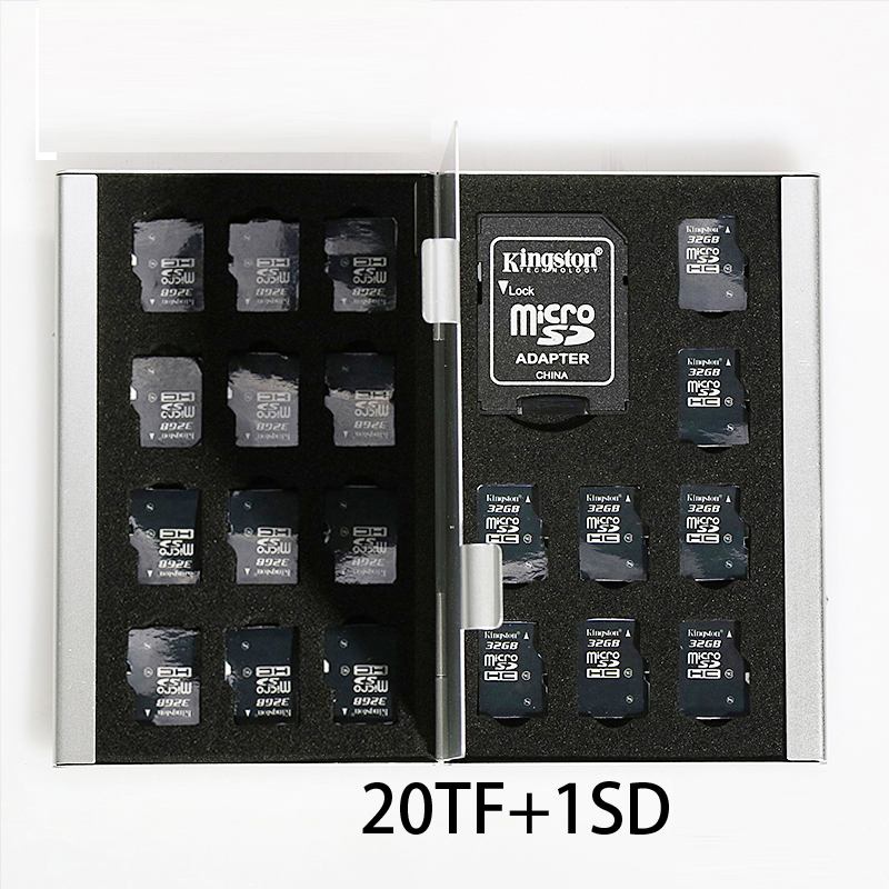 21 In 1 Aluminum Storage Box Bag Memory Card Case Holder Wallet Large Capacity For 1* SD Card 20*Mirco SD Free Shipping