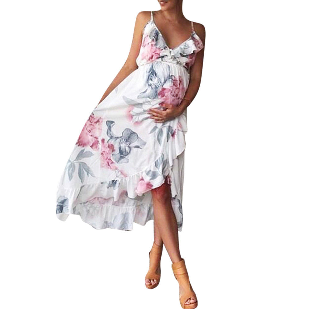 Bohe Floral Printed Pregnant Womens Long Dress Spaghetti Strap Maxi Dress Maternity Mother Deep V Neck Beach Dress Vestidos