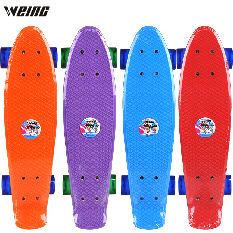 NEW ARRIVAL WEING Fish Shaped Imported New Steel Skateboard Transparent Flashing Wheel Long Board For Adult And Children