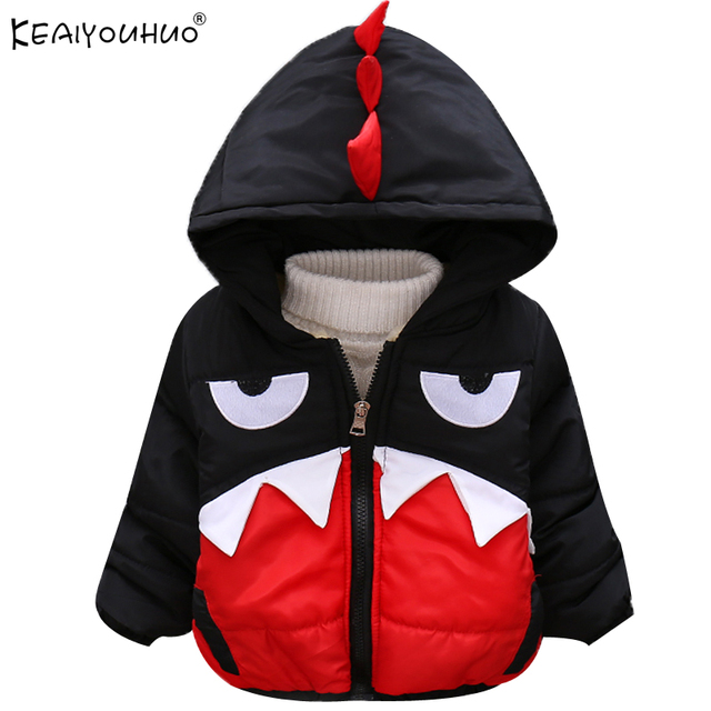 KEAIYOUHUO 2017 Outerwear Winter Boys Coat Children Clothes Long Sleeve Cartoon Big Eyes Jacket Cotton Hooded Clothing Down Coat