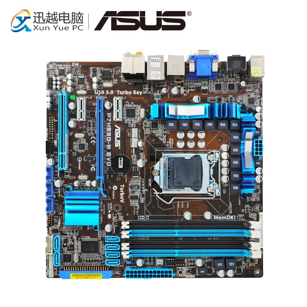 Asus P7H55D-M EVO Desktop Motherboard H55 Socket LGA 1156 i3 i5 i7 DDR3 16G USB3.0 uATX On Sale for asus maximus iii gene original used desktop motherboard m3g for intel p55 socket lga 1156 for i3 i5 i7 ddr3 16g uatx