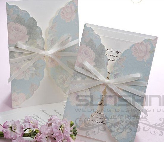 Invitation Card Wedding Cards B1002 Light Blue Color With Envelope Print Your