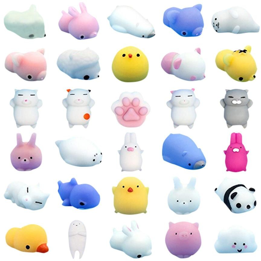 30pcs Set Mini Cute squishy Toy Squeeze Funny Toys Soft Stress Reliever Lovely Decoration Play with you Cartoon Animals funny cute mini cartoon tpr animal jumbo squishy toy