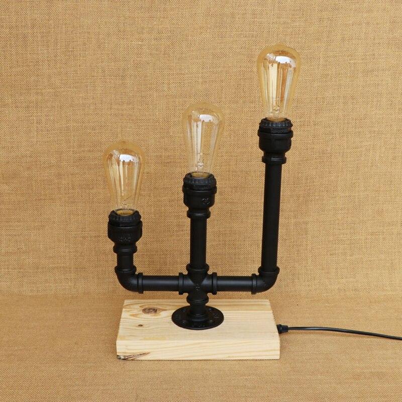 Vintage Candlestick industrial desk lamp Wood base 3 lights with switch LED light for caffe bedside restaurant 220V