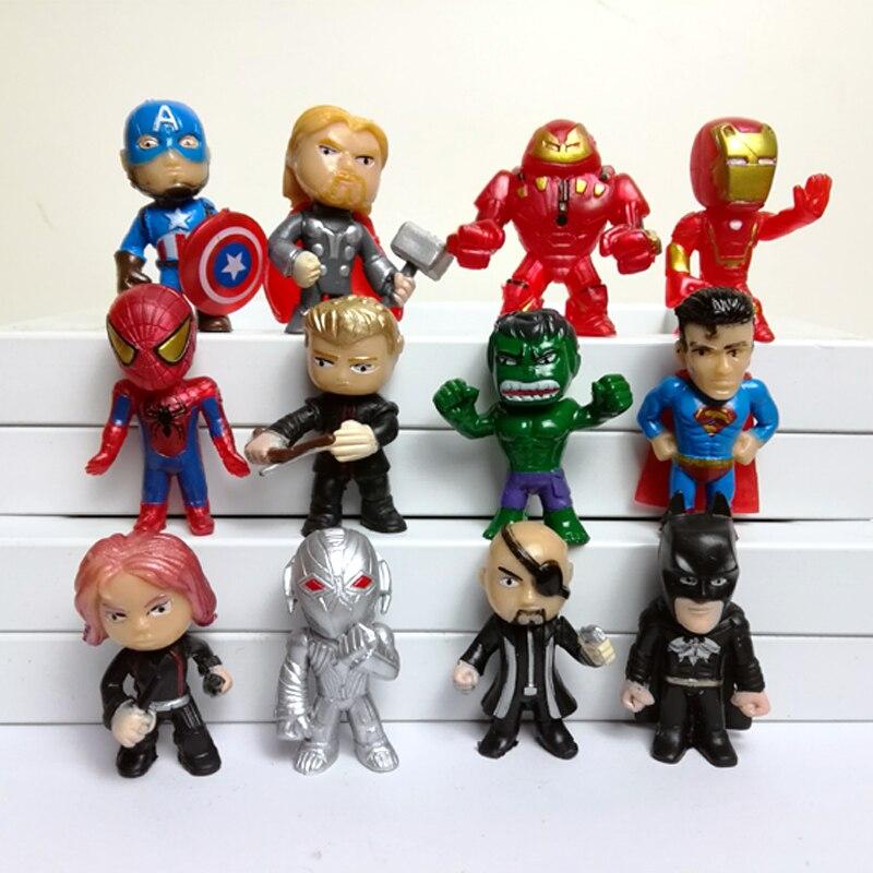 Wholesale 120pcs lot Q style The Avengers figures Super man mini dolls PVC toys for boys