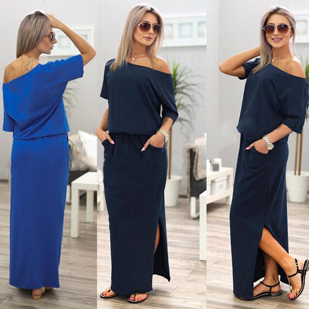 309b4981eaecd Women Fashion Solid Summer Long Maxi BOHO Sexy Evening Party Round Neck  Causal Navy Blue Summer Dress with Pocket NY/L Hot Top