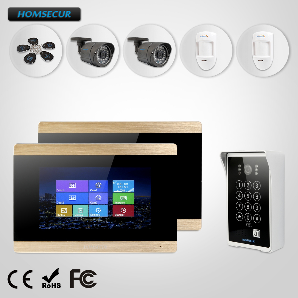 HOMSECUR 7 Video&Audio Home Intercom+Touch Screen Monitor+CCTV Camera+Wired PIR Sensor for Home Security(BM715-G+BC081)