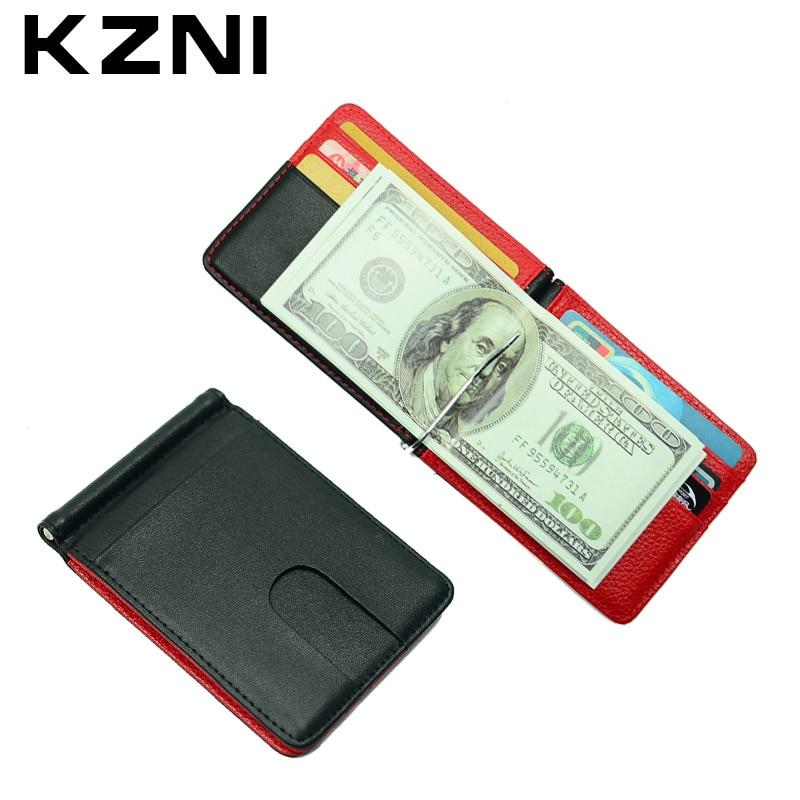 KZNI Leather Money Holder <font><b>Clip</b></font> Wallet Metal Leather Credit Card Holder Credit Card Case Porta Carte Di Credito 004