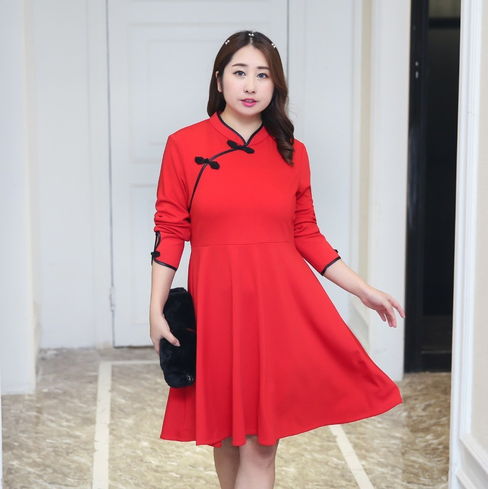 Plus Size Big Women Chinese Style Sexy Cheongsam Dress Weight Girls Harajuku Vintage Loose Lolita Chi pao Dresses Large Size in Dresses from Women 39 s Clothing