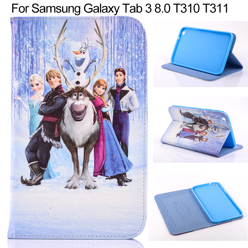 Fashion Cute Cartoon Painted Flip PU Leather Case for Samsung Galaxy Tab 3 8.0 inch T310 T311 T315 Smart Stand Tablet Cover