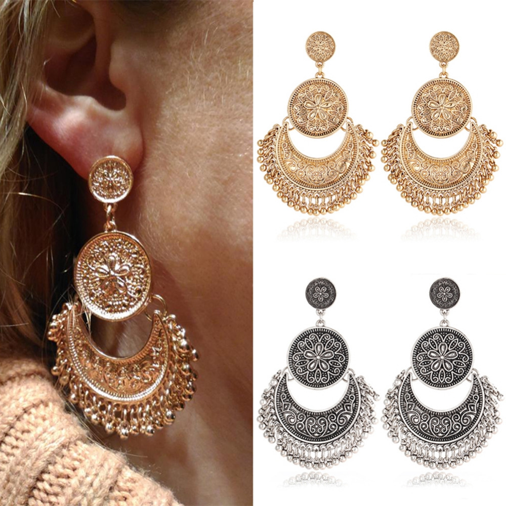 1Pair Fashion Boho Earrings Big Statement Jewelry Love Retro Tassel Earrings For Women Jewelry Accessories