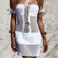 Handmade Crochet Summer Dresses Beach Lace Up Hollow Out Off Shoulder Knitted Dress Women Swimwear Sexy