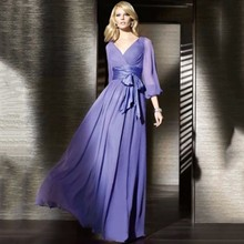 Promotion ! Evening Only One Piece Dress ! Floor-Length Solid Full Sleeve Chiffon Long Maxi Wedding Party Dress Belt Bow