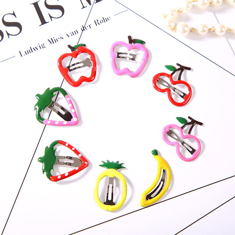 6Pcs/lot Fruit Hair Accessories Barrette Cherry Banana Candy Color Cute Hairpin Kids Sweet Hair Clips Accessories for Women halloween party zombie skull skeleton hand bone claw hairpin punk hair clip for women girl hair accessories headwear 1 pcs
