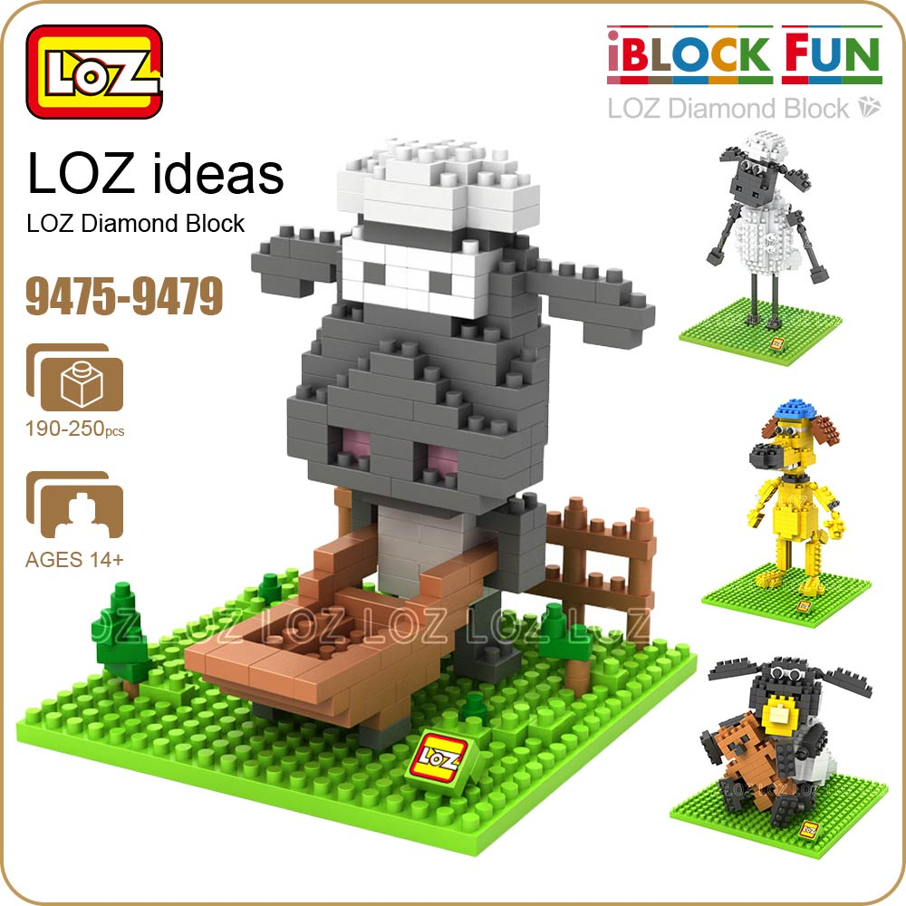 LOZ Diamond Blocks Cartoon Dog Sheep Action Figure Building Blocks Nano Pixels Plastic Assembly Toys Educational DIY 9475-9479 loz diamond blocks dans blocks iblock fun building bricks movie alien figure action toys for children assembly model 9461 9462