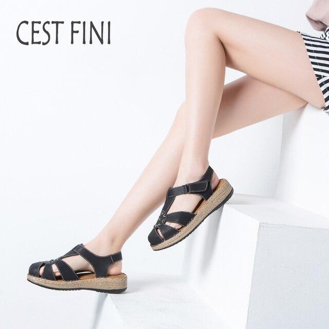 CESTFINI женские летние босоножки с закрытым носком мягкая удобная кожаная  ручной работы Для женщин Летняя обувь 8b42ed89564