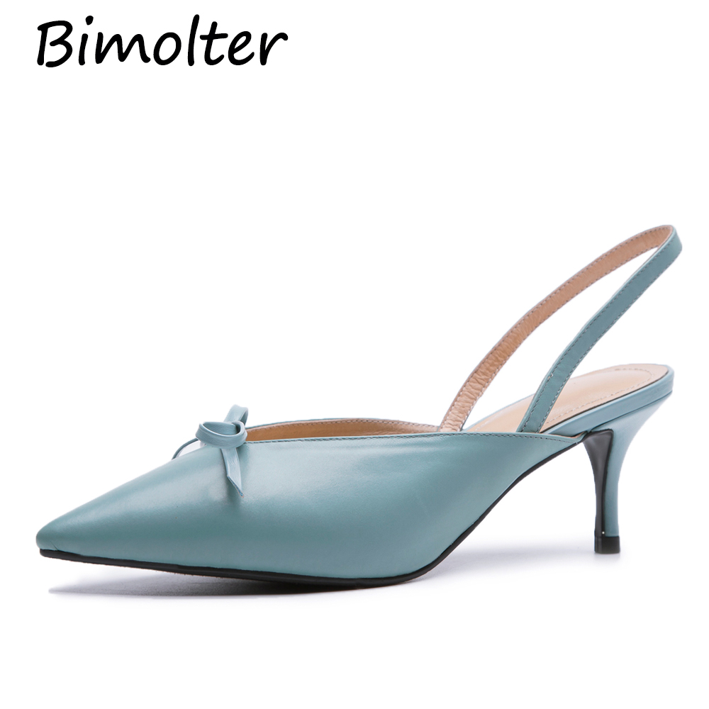 Bimolter Women Sweet Thin Heels Party shoes Sheepskin Genuine leather Silk Bow tied Point toe Shoes ladies Slingback Pumps FB039