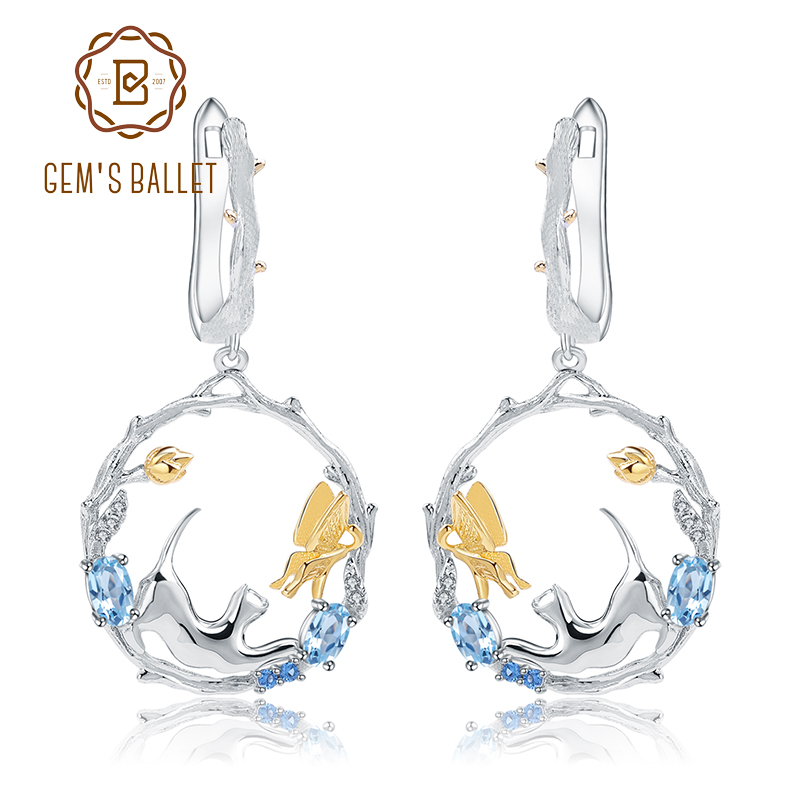 GEM S BALLET 1 17Ct Natural Swiss Blue Topaz Earrings 925 Sterling Silver Handmade Cat Cupid