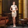 2017 New Autumn Dress Chinese Traditional Dress Authentic Noble Cheongsams Short Sleeve Printed Mini Qipao Dresses