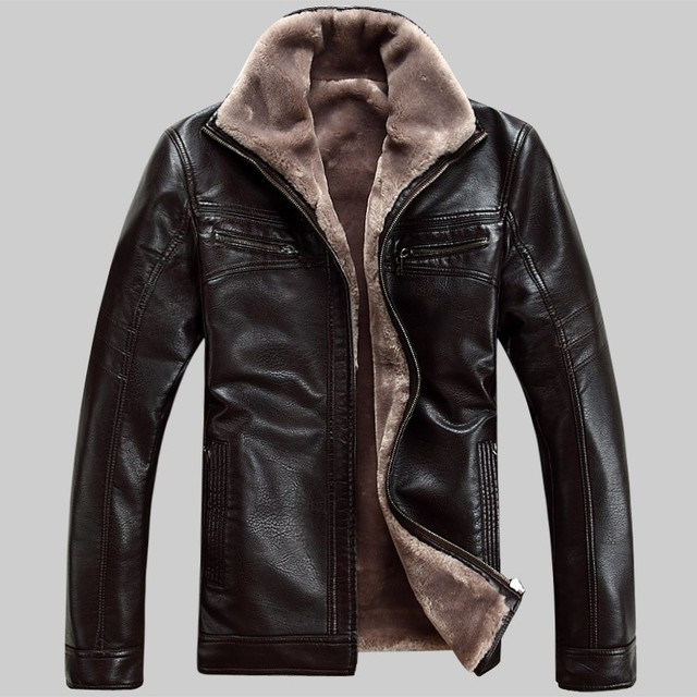 5XL FreeShipping Hot Sale Winter Thick Leather Garment Casual flocking Leather Jacket Men's Clothing Leather Jacket Men 973