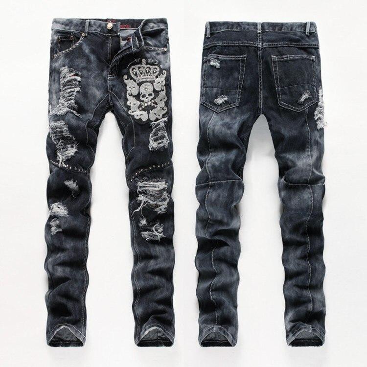 Frazzle Jeans hommes Split Joint droit Slim Denim pantalon noir brodé crâne motif conception décontracté hommes Jeans Long pantalon