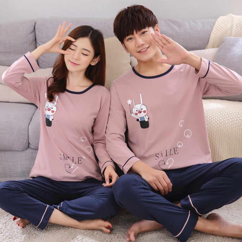 Пижамный комплект для пары; сезон весна-осень; 100% хлопок; женские пижамы с героями мультфильмов; большие размеры; M-3XL одежда для сна с длинными рукавами; Мужская пижама для отдыха