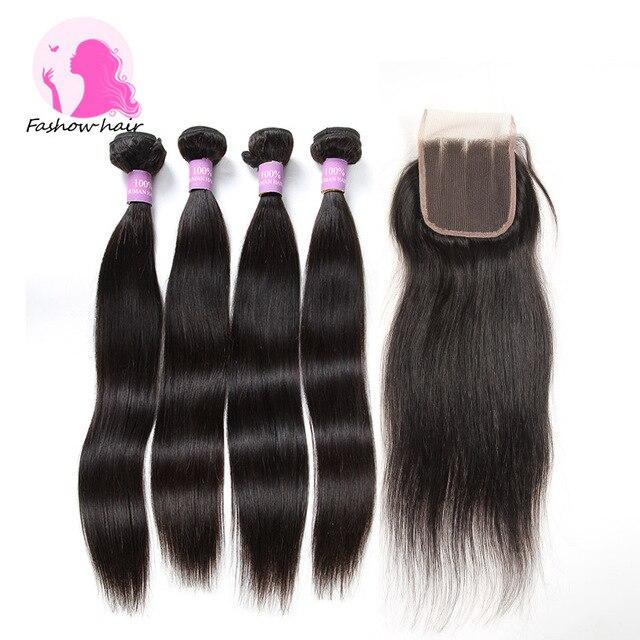 8A Fashow Hair Brazilian Virgin Hair With Closure Brazilian Virgin Hair Straight 4 Bundles With Closure Unprocessed Human Hair