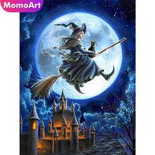 MomoArt Diamond Painting Witch Castle Night Embroidery Full Square Rhinestone Mosaic Halloween