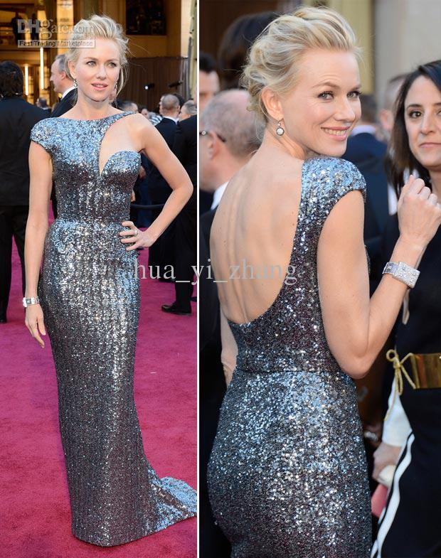 Best buy ) }}vestidos formales long Naomi Watts 85th Oscar Celebrity Red Carpet Gowns Metal Silver Best