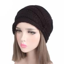 Mujeres musulmanes invierno de la colmena del punto de lana turbante  sombrero caliente casquillo del Knit Beanie Chemo HeadWrap . bdf7cd5fdd8