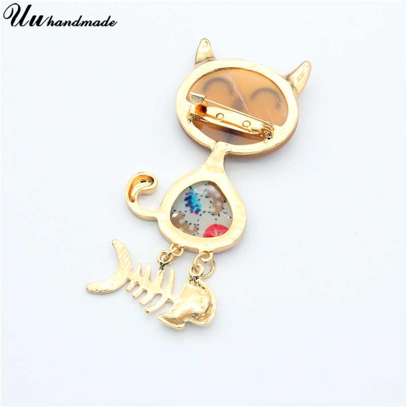 Gato bonito peixe captura pinos broche de acrílico jóias pin esmalte olá kitty broches broche de lapela pin broches para mulheres bts