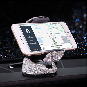 Image 5 - Crystal Rhinestones 360 Degree Car Phone Holder for Car Dashboard Auto Windows and Air Vent Universal Car Mobile Phone Holder