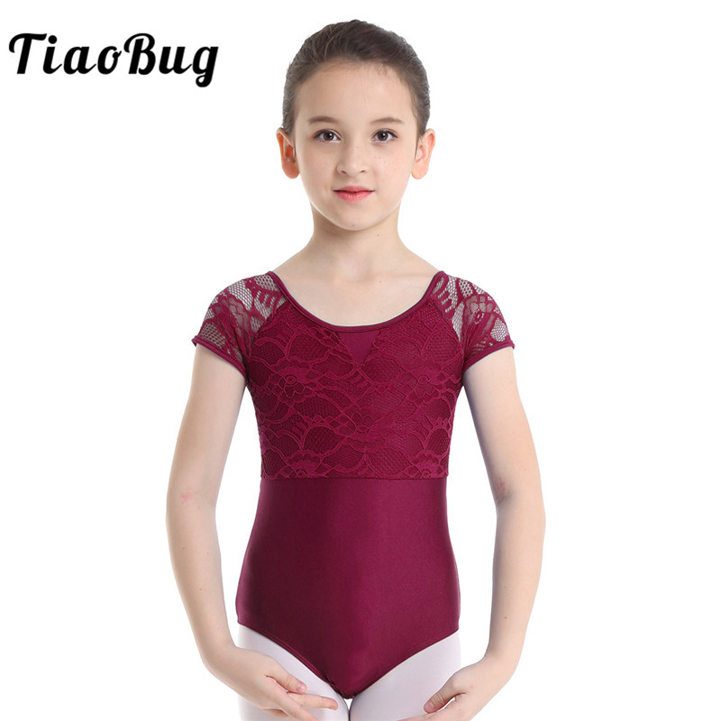 TiaoBug Girls Short Sleeve Floral Lace Cutout Professional Ballet Dance Leotard Child Gymnastics Leotard Kids Ballerina Bodysuit
