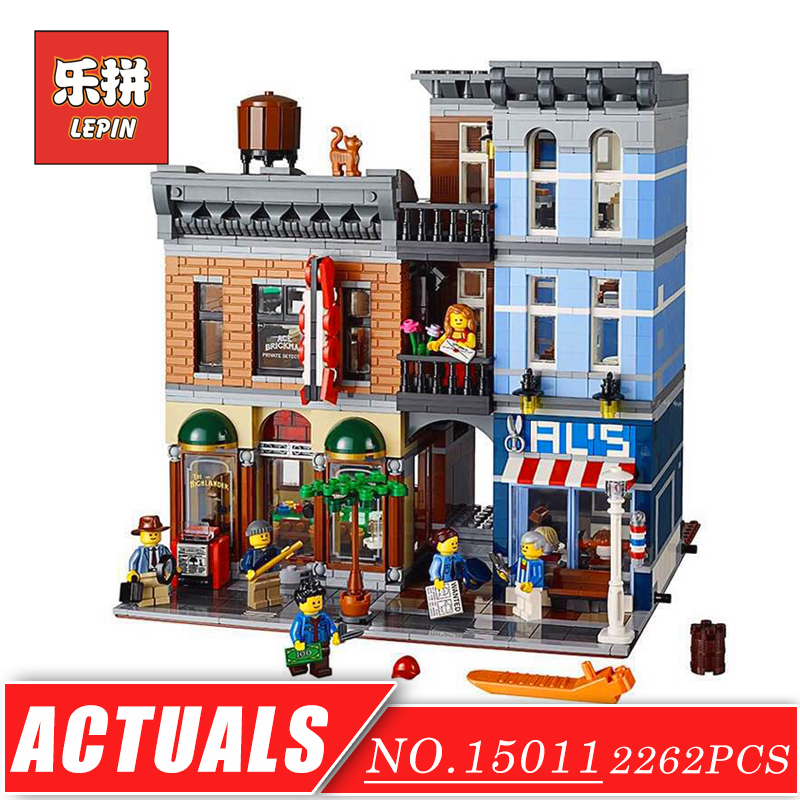 LEPIN 15011 Creator City Street View Series Detective Agency Model Building Kits Blocks Bricks Set DIY Collection Toys for Child