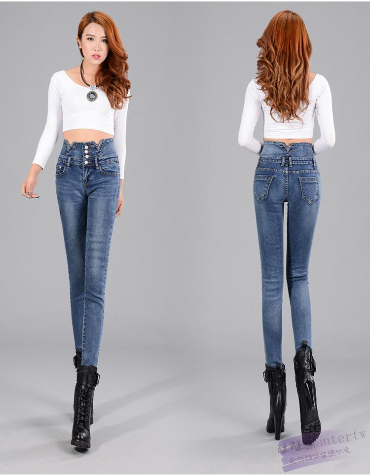 Free shipping 2016 Fashion Plus Size Women High Waist Vintage Button Full Length Elastic Skinny Jeans