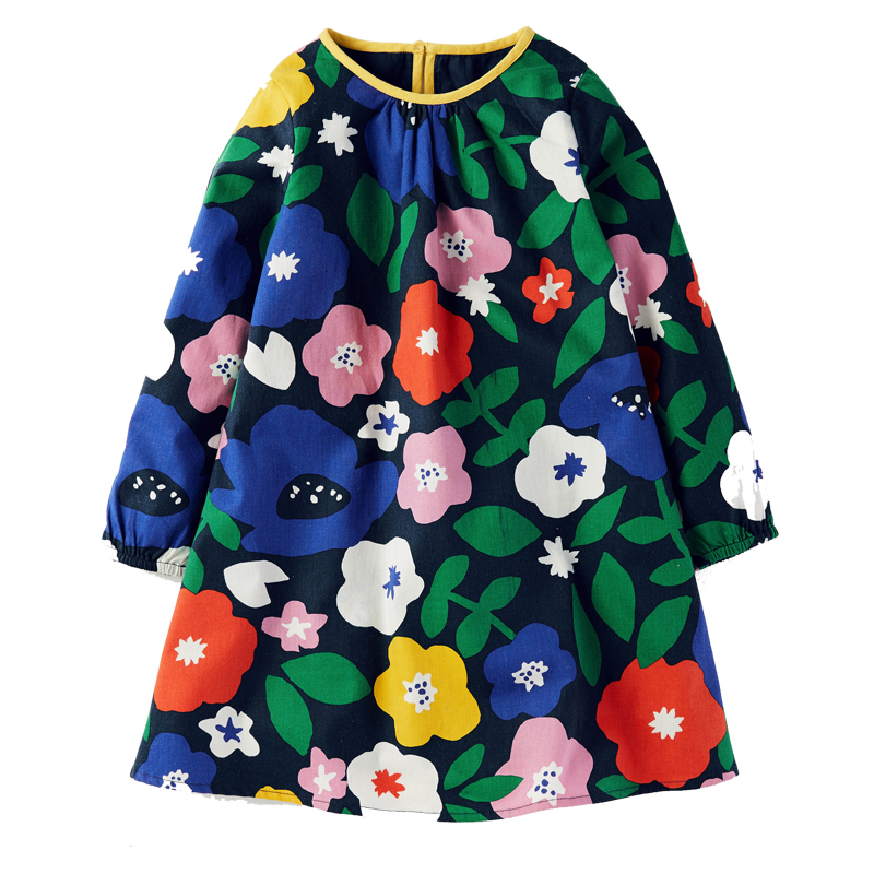 Baby Girl Dress 100% Cotton 2017 Brand Princess Dress Enfant Christmas Autumn Kids Dresses for Girls Children Clothes Vestidos little maven kids brand clothes 2017 new autumn baby girls clothes cotton bird printing girl a line pocket dress d063