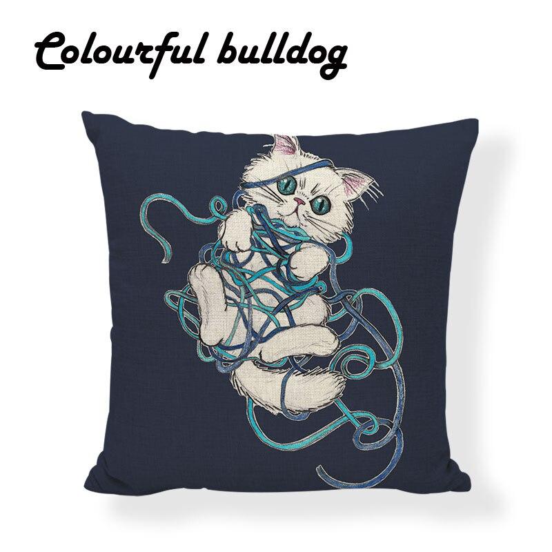 Geometric Pillowcase Pink Love Rabbit Cushion Cover Rhinoceros